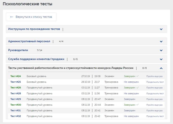 Тесты на оценку умственной работоспособности и стрессоустойчивости конкурса Лидеры России