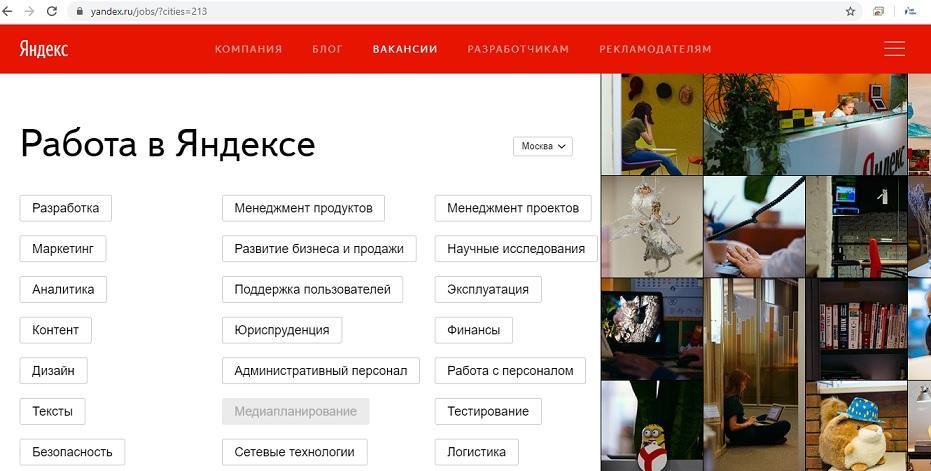 Отправка анкеты на вакансию Яндекс