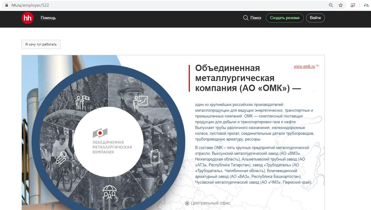 ОМК официальный сайт карьера